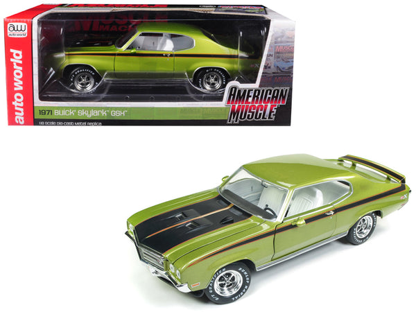 "1971 Buick Skylark GSX Limemist Green with White Interior ""Hemmings Muscle Machines"" Magazine Limited Edition to 300 pieces Worldwide 1/18 Diecast Model Car by Autoworld"""