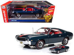 "1968 AMC AMX Hardtop Blazer Blue ""Class of 68"" 50th Anniversary 1/18 and 1/64 2 Cars Set Limited Edition to 1002 pcs Worldwide Diecast Model Cars by Autoworld"