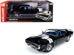 1971 Plymouth GTX Hardtop Black Velvet with White Stripes Limited Edition to 1,002 pieces Worldwide 1/18 Diecast Model Car by Autoworld