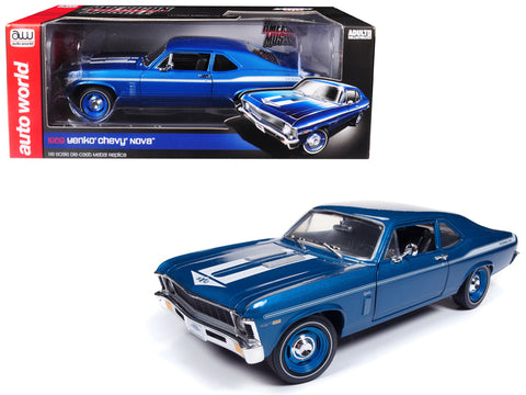 "1969 Chevrolet ""Yenko"" Nova Blue with White Stripes Limited Edition to 1002 pieces Worldwide 1/18 Diecast Model Car by Autoworld"