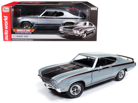 "1971 Buick GSX ""MCACN"" Platinum Mist Metallic Silver Limited Edition to 1,002 pieces Worldwide 1/18 Diecast Model Car by Autoworld"