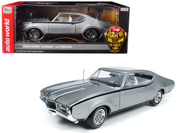 "1968 Oldsmobile Cutlass Hurst Olds Silver ""Class of 68"" 50th Anniversary Limited Edition to 1002 pieces Worldwide 1/18 Diecast Model Car by Autoworld"