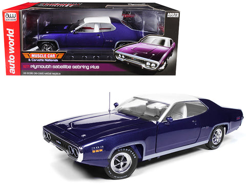 1971 Plymouth Satellite Sebring Plus MCACN Purple with White Roof Limited Edition to 1002 pieces Worldwide 1/18 Diecast Model Car by Autoworld