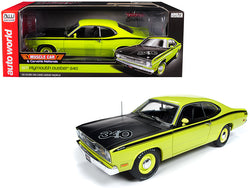 "1971 Plymouth Duster 340 Hardtop Green with Black Hood ""Muscle Car & Corvette Nationals"" (MCACN) Limited Edition to 1002 pieces Worldwide 1/18 Diecast Model Car by Autoworld"