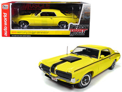 "1970 Mercury Cougar Eliminator Competition Yellow with Black Stripes ""Hemmings Muscle Machines"" Magazine (October 2004) Cover Car Limited Edition to 1002 pieces Worldwide 1/18 Diecast Model Car by Autoworld"