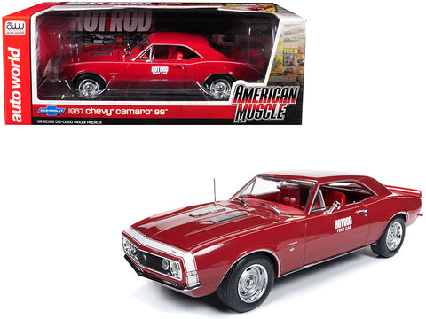 "1967 Chevrolet Camaro SS ""Hot Rod Magazine"" Test Car Red with White Nose Stripe Limited Edition to 1,002 pieces Worldwide 1/18 Diecast Model Car by Autoworld"