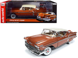1958 Chevrolet Bel Air Impala Sierra Gold Metallic with Cream Top Limited Edition to 1,002 pieces Worldwide 1/18 Diecast Model Car by Autoworld
