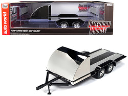 Four Wheel Open Car Hauler Trailer Black for 1/18 Diecast Models by Autoworld
