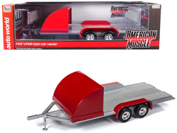 Four Wheel Open Car Hauler Trailer Red for 1/18 Diecast Models by Autoworld