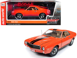 "1969 AMC AMX Hardtop Big Bad Orange with Black Stripes ""Hemmings Muscle Machines"" Limited Edition to 1,002 pieces Worldwide 1/18 Diecast Model Car  by Autoworld"
