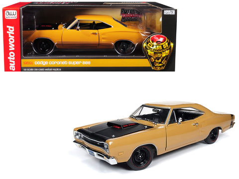 "1969 1/2 Dodge Coronet Six Pack ""Super Bee"" Hardtop Butterscotch Orange with Black Hood ""Class of 1969"" Special Limited Edition to 300 pieces Worldwide 1/18 Diecast Model Car by Autoworld"