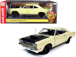 "1969 1/2 Plymouth Road Runner Coupe Sunfire Yellow with Black Hood ""Looney Tunes"" ""Class of 1969"" Special Limited Edition 1/18 Diecast Model Car by Autoworld"