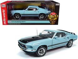 "1969 Ford Mustang Mach 1 Aztec Aqua Light Blue with Black Hood ""Class of 1969"" Limited Edition 1/18 Diecast Model Car by Autoworld"