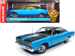 "1969 Plymouth Road Runner Hardtop Petty Blue with Black Top and Black Stripes ""Looney Tunes"" ""Class of 1969"" 1/18 Diecast Model Car by Autoworld"