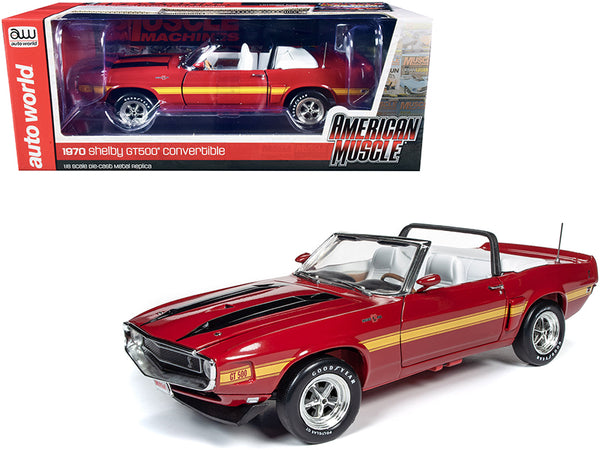 "1970 Ford Mustang Shelby GT500 Convertible Candy Apple Red with Black and Yellow Stripes ""Hemmings Muscle Machines"" Magazine Cover Car (July 2010) 1/18 Diecast Model Car by Autoworld"
