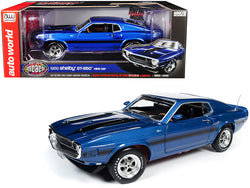 "1969 Ford Mustang Shelby GT-350 Fastback Pilot Car Acapulco Blue Metallic with Black Stripes ""Muscle Car & Corvette Nationals"" (MCACN) ""50th Anniversary of the Boss Engines"" (1969-2019) 1/18 Diecast Model by Autoworld"