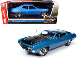 "1970 Ford Torino Cobra Medium Blue Metallic with Black Hood ""Hemmings Muscle Machines"" Magazine Cover Car (September 2018) 1/18 Diecast Model Car by Autoworld"