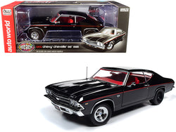 "1969 Chevrolet Chevelle SS 396 Tuxedo Black with Red Interior ""Muscle Car & Corvette Nationals"" (MCACN) Limited Edition to 1002 pieces Worldwide 1/18 Diecast Model Car by Autoworld"