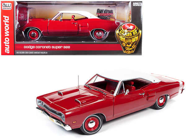 "1969 Dodge Super Bee Hardtop Dark R6 Red with White Top ""Class of 1969"" 1/18 Diecast Model Car by Autoworld"