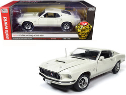 "1969 Ford Mustang Fastback Boss 429 Wimbledon White ""Class of 1969"" ""50th Anniversary of the Boss Engines"" (1969-2019) 1/18 Diecast Model Car by Autoworld"