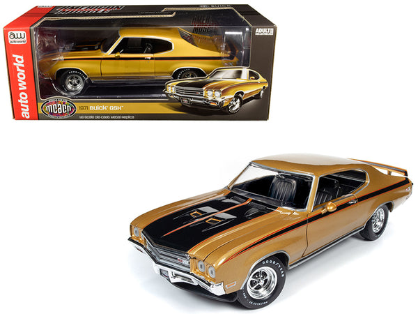 "1971 Buick GSX Hardtop Cortez Gold Metallic with Black Stripes ""Muscle Car & Corvette Nationals"" (MCACN) 1/18 Diecast Model Car by Autoworld"