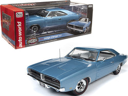 "1969 Dodge Charger R/T Hardtop B3 Light Blue Metallic with White Interior ""Muscle Car & Corvette Nationals"" (MCACN) 1/18 Diecast Model Car by Autoworld"