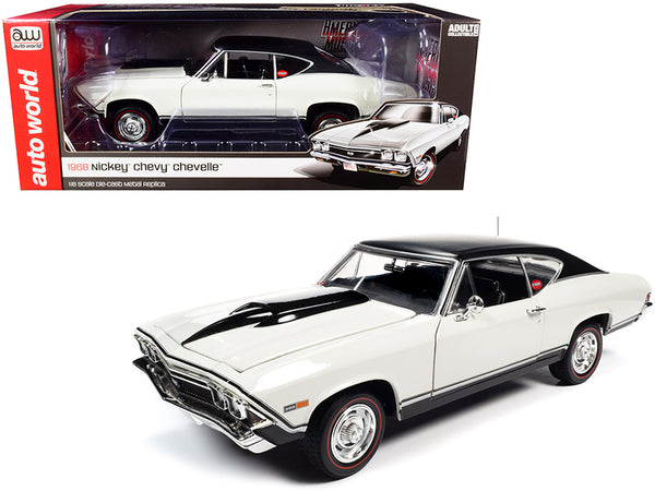 "1968 Chevrolet ""Nickey"" Chevelle SS Hardtop Ermine White with Black Top 1/18 Diecast Model Car by Autoworld"