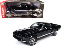 "1967 Ford Mustang Shelby GT350 Hardtop Raven Black with White Stripes ""Muscle Car & Corvette Nationals"" (MCACN) 1/18 Diecast Model Car by Autoworld"