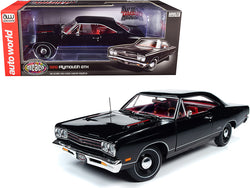 "1969 Plymouth GTX Hardtop X9 Black Velvet with Red Interior ""Muscle Car & Corvette Nationals"" (MCACN) 1/18 Diecast Model Car by Autoworld"