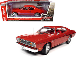 "1970 Plymouth Duster 340 Hardtop Rallye Red with Red Interior and Black Stripes ""Hemmings Classic Car"" Magazine Cover Car (September 2007) 1/18 Diecast Model Car by Autoworld"