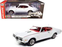 "1968 Oldsmobile Cutlass S W31 White with Red Interior ""Muscle Car & Corvette Nationals"" (MCACN) 1/18 Diecast Model Car by Autoworld"