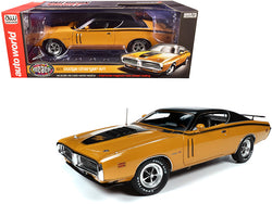 "1971 Dodge Charger R/T Hardtop Butterscotch Orange with Black Top and Black Stripes ""Muscle Car & Corvette Nationals"" (MCACN) 1/18 Diecast Model Car by Autoworld"