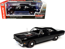 "1969 Plymouth HEMI 426 RoadRunner Hardtop Tuxedo Black ""Hemmings Muscle Machines"" Magazine Cover Car (August 2009) 1/18 Diecast Model Car by Autoworld"