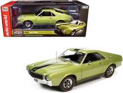 "1968 AMC AMX Hardtop Light Green Metallic with Black Stripes ""Muscle Car & Corvette Nationals"" (MCACN) 1/18 Diecast Model Car by Autoworld"