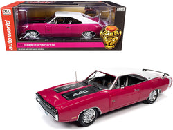 "1970 Dodge Charger R/T SE 440 Hardtop Panther Pink with White Top and Stripe and Black Stripes ""Class of 1970"" 1/18 Diecast Model Car by Autoworld"