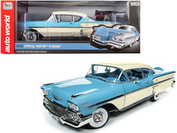 1958 Chevrolet Bel Air Impala Cashmere Blue and Cream 1/18 Diecast Model Car by Autoworld