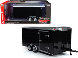 Four Wheel Enclosed Trailer Black with Silver Top for 1/18 Scale Model Cars by Autoworld
