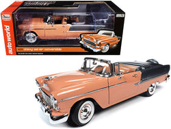 1955 Chevrolet Bel Air Convertible Coral and Shadow Gray 1/18 Diecast Model Car by Autoworld