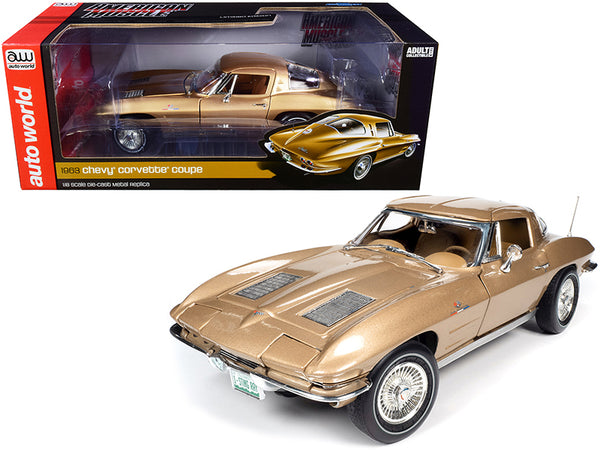 1963 Chevrolet Corvette Stingray Coupe Saddle Tan Metallic 1/18 Diecast Model Car by Autoworld