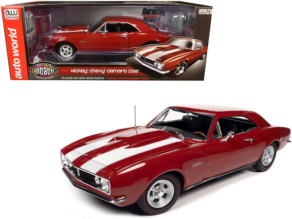"1967 Chevrolet Camaro Z/28 Nickey Hardtop Bolero Red with White Stripes ""Muscle Car & Corvette Nationals"" (MCACN) 1/18 Diecast Model Car by Autoworld"