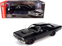 "1969 1/2 Plymouth Road Runner Hardtop Black Velvet with Matte Black Hood ""Muscle Car & Corvette Nationals"" (MCACN) 1/18 Diecast Model Car by Autoworld"