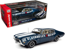 "1969 Oldsmobile 442 W-30 Coupe ""Dr. Oldsmobile's W-Machine"" Trophy Blue Metallic with White Stripes ""Muscle Car & Corvette Nationals"" (MCACN) 1/18 Diecast Model Car by Autoworld"