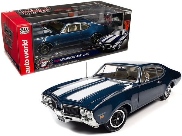 "1969 Oldsmobile 442 W-30 Coupe Trophy Blue Metallic with White Stripes ""Muscle Car & Corvette Nationals"" (MCACN) Special Limited Edition 1/18 Diecast Model Car by Autoworld"