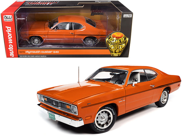"1970 Plymouth Duster 340 Two-Door Coupe EK2 Vitamin C Orange with Black Stripes and White Interior ""Class of 1970"" 1/18 Diecast Model Car by Autoworld"