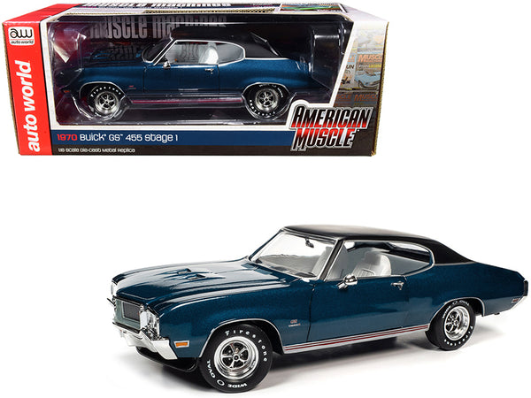 "1970 Buick GS 455 Stage 1 Hardtop Diplomat Blue Metallic with Black Top and White Interior ""Hemmings Muscle Machines"" Magazine Cover Car (July 2019) 1/18 Diecast Model Car by Autoworld"