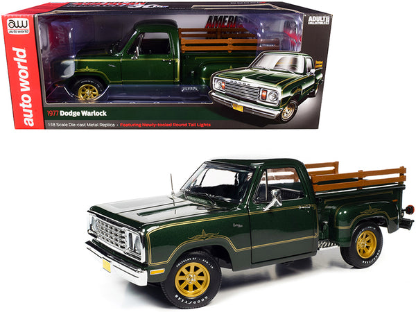 1977 Dodge Warlock 150 Custom Stepside Pickup Truck Medium Green Sunfire Metallic with Gold Graphics 1/18 Diecast Model by Autoworld