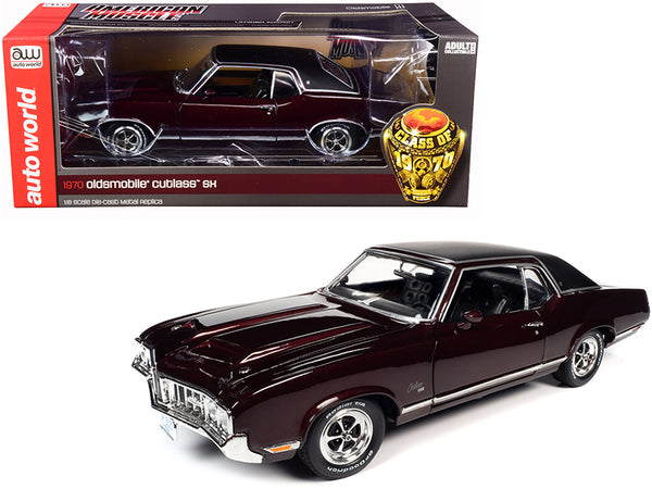 "1970 Oldsmobile Cutlass SX Burgundy Mist Metallic with Black Vinyl Top ""Class of 1970"" 1/18 Diecast Model Car by Autoworld"