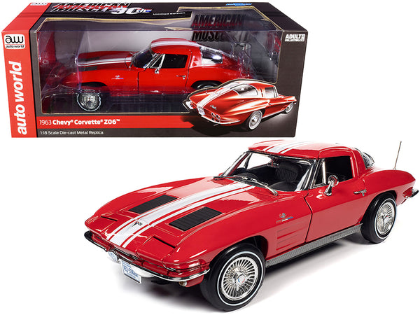 "1963 Chevrolet Corvette Stingray Z06 Riverside Red with White Stripes ""American Muscle 30th Anniversary"" 1/18 Diecast Model Car by Autoworld"
