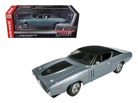1971 Dodge Charger R/T Hemi (GA4) Gunmetal Grey Limited to 1250pcs 1/18 Diecast Model Car by Autoworld