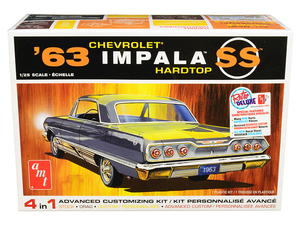 1963 Chevrolet Impala SS Hardtop 4 in 1 Plastic Model Kit (Skill Level 2) 1/25 Scale Model by AMT